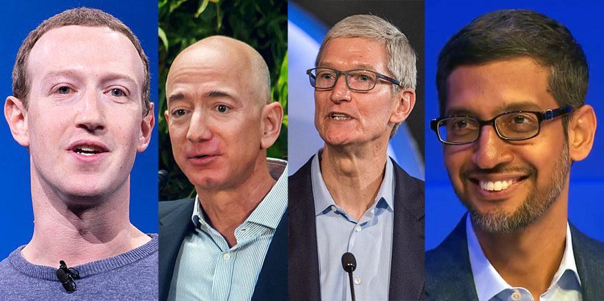 반독점 법 위반 혐의로 의회에 서게될 아마존, 애플, 페이스북, 알파벳 CEO들
