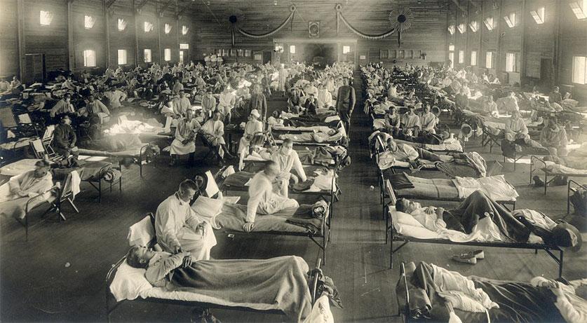 1918년 스페인 독감시기 미국 학생들이 학교에 복귀 했을 때