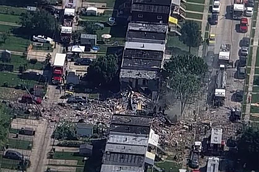 볼티모어 주택 폭발로 다수의 사상자 발생, 한 사람 파괴된 집 안에 갇혀