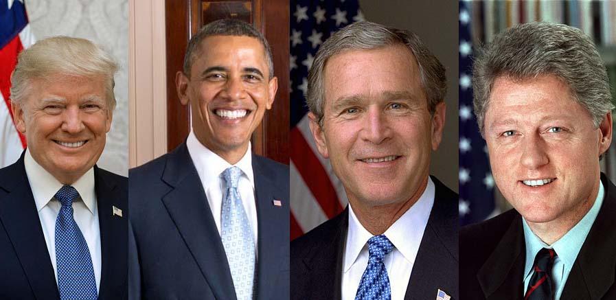 코비드-19위기를 대하는 트럼프 대통령과 3명의 전 미국 대통령들