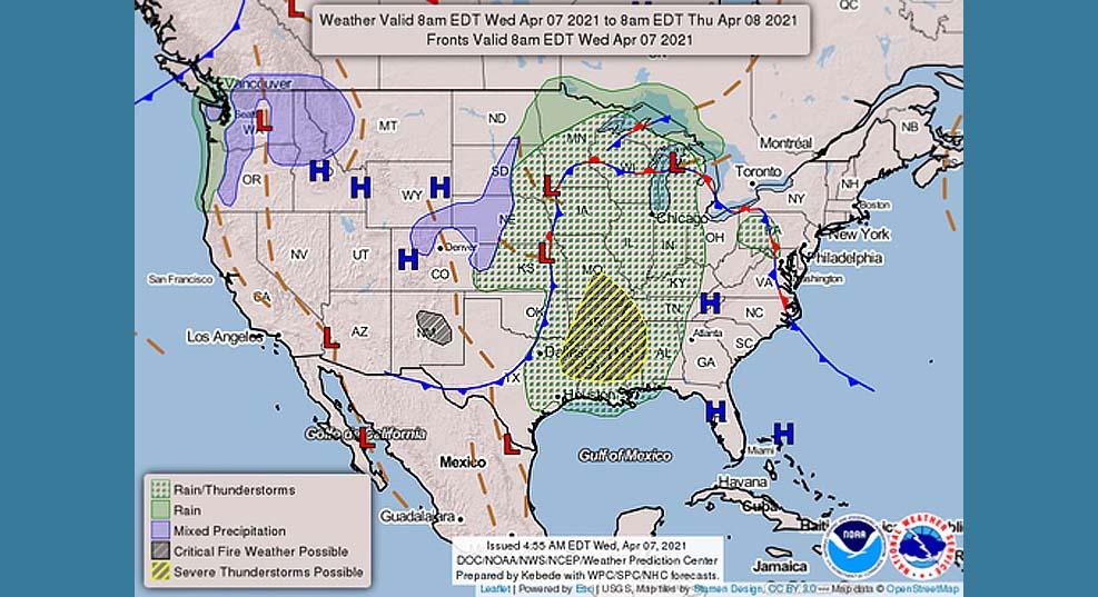 미 남부지역 3천만 명의 사람들, 혹독한 날씨위협에 처해져