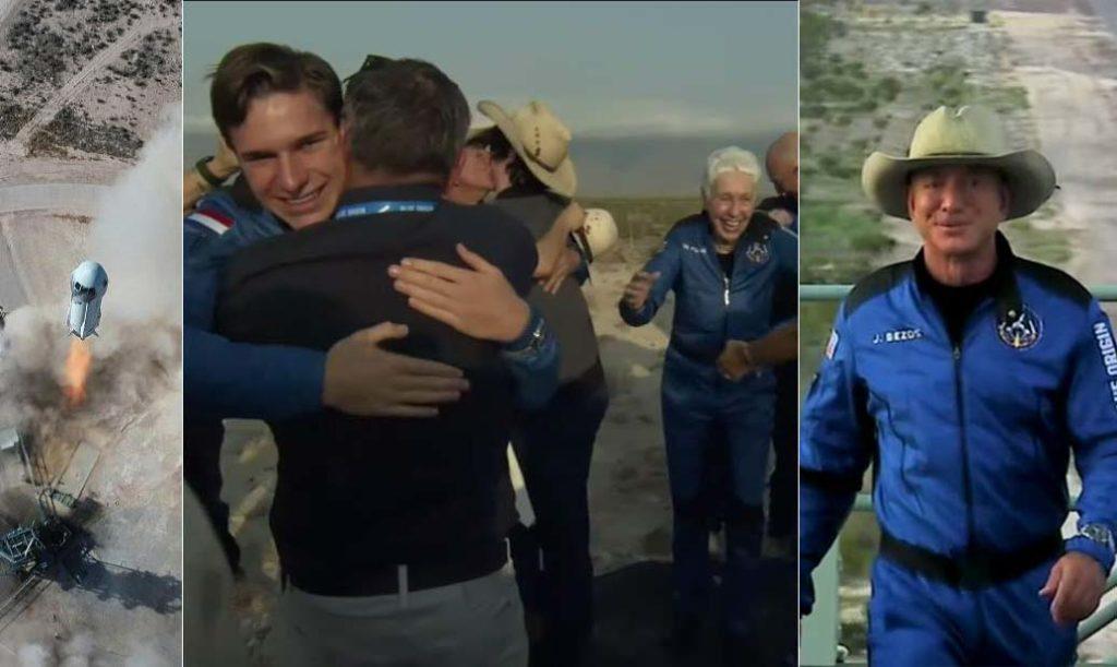 제프 베조스와 멤버들, 우주여행 후 안전하게 지구 착륙 성공