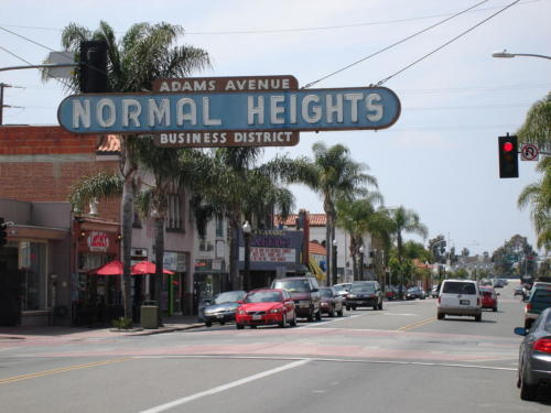 Normal Height's sign, Adams Avenue