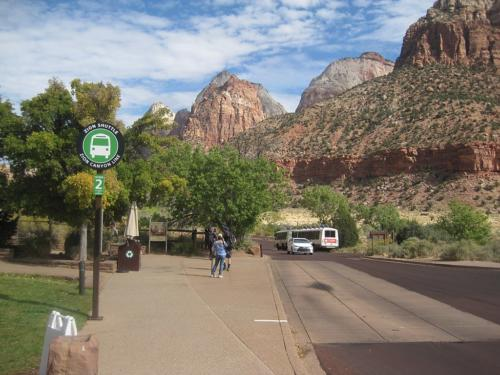 Shuttle bus stop at Zion Canyon National Park