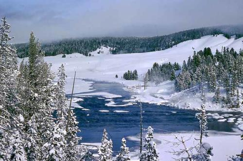 옐로우스톤의 겨울경치